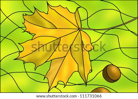 Autumn stained-glass illustration - stock photo