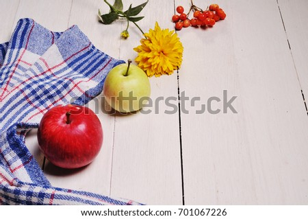 Autumn still life of apples on a wooden table