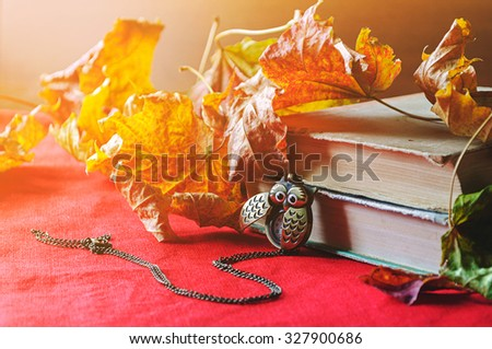 Autumn still life -  old books with vintage clock in form of owl  among the dry yellow maple leaves and bright sunlight.  Selective focus at the clock - shallow depth of field - stock photo