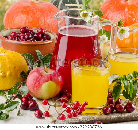 Autumn still life with fresh juice  . Selective focus - stock photo