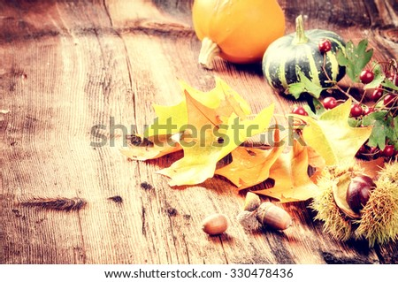 Autumn still-life with pumpkins and oak leaves - stock photo