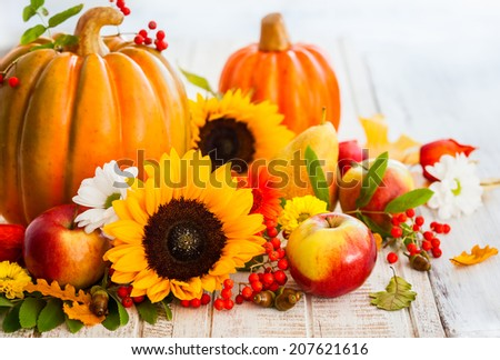 Autumn still life with seasonal fruits,vegetables and flowers - stock photo
