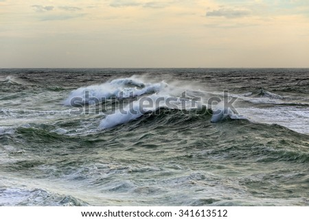 Autumn stormy seascape from northern portuguese coast - stock photo