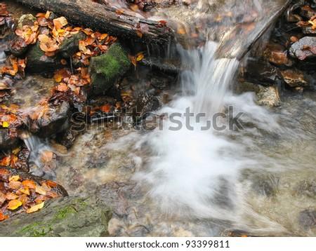 autumn stream in the mountains - stock photo