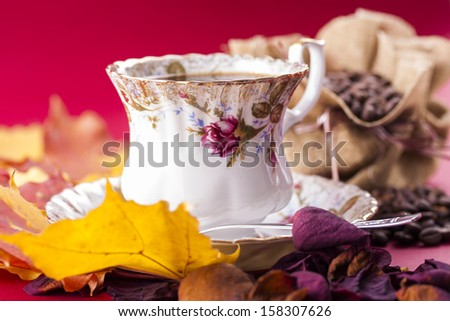Autumn style close up photo of a hot coffee porcelain cup with the bag of the coffee beans over a red background.