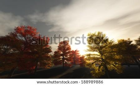 Autumn Sunrise - stock photo