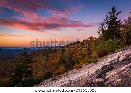 Autumn sunrise from Beacon Heights, on the Blue Ridge Parkway, North Carolina. - stock photo