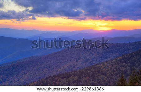 Autumn sunset over the Great Smoky Mountains National Park, Tennessee, USA - stock photo
