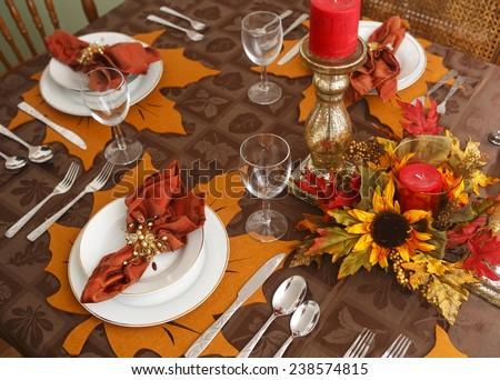 Autumn Table Setting & Autumn Table Setting Stock Photo 238574815 - Shutterstock
