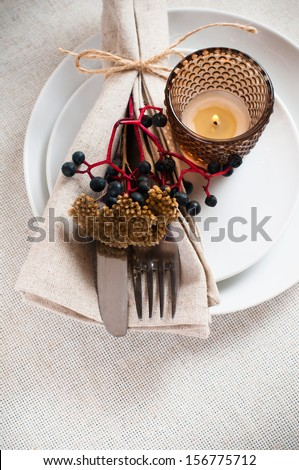 Autumn table setting with wild grapes, dried herbs and berries in a napkin, plate, fork and knife on a beige linen tablecloth - stock photo