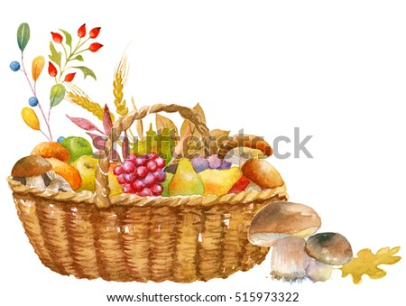 Autumn thanksgiving card template, hand watercolor painted, isolated, clipping path included, quick isolation. Pumpkin, apple, pear, mushroom, basket.