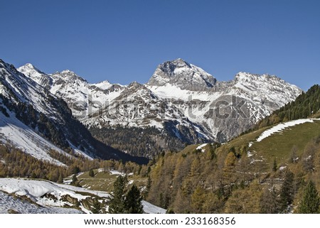 Autumn time - Rhaetian Alps near the driveway to the Albula Pass - stock photo