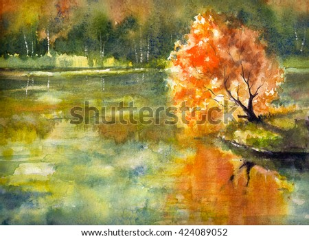 Autumn tree with orange leaves reflecting in lake with.Picture created with watercolors. - stock photo