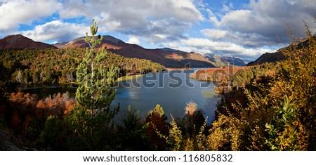 Autumn trees in the background of mountain lake... - stock photo