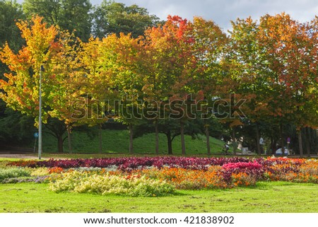 Autumn trees in the garden at Nijmegen, The Netherlands - stock photo