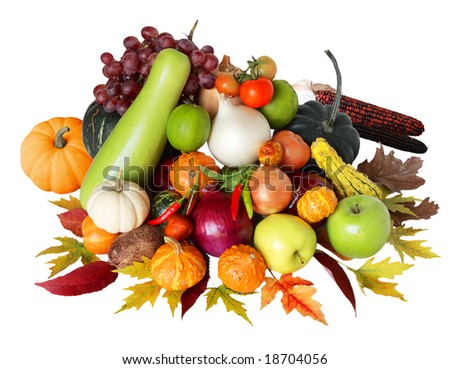 Autumn vegetable and fruit harvesting isolated on white
