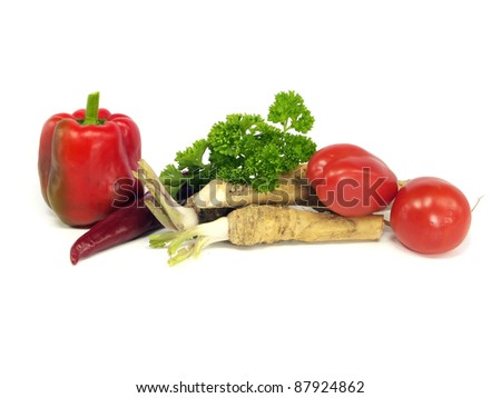 autumn vegetables still life on a white background
