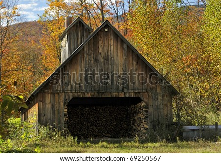 Autumn Vermont Sugar Shack Horizontal - stock photo
