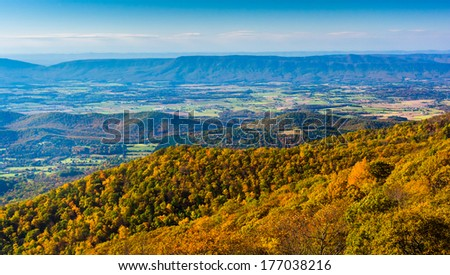 Autumn view from Skyline Drive in Shenandoah National Park, Virginia. - stock photo