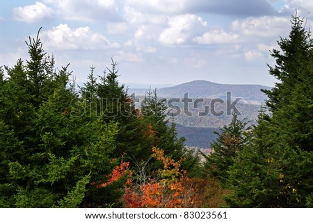 Autumn View From Spruce Knob, West Virginia Horizontal with Copy Space - stock photo