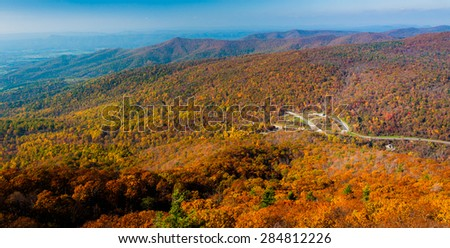 Autumn view of the Blue Ridge Mountains from Mary's Rock, along the Appalachian Trail in Shenandoah National Park, Virginia. - stock photo