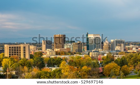 Autumn view of the Boise Idaho skyline