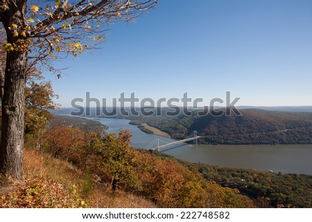 Autumn view of the Hudson River taken from Bear Mountain State Park. - stock photo