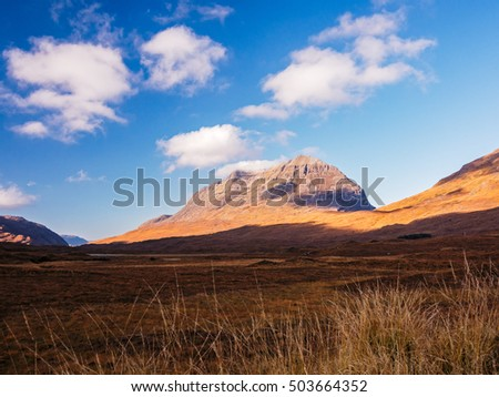 "Autumn view of the Liathach (Gaelic, meaning ""the Grey One"") what regarded as one of Scotland's finest mountain. Glen Torridon, Northwest Highlands, Scotland, UK"