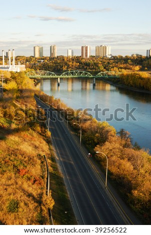 Autumn view of the north saskatchewan river valley and downtown in sunset, edmonton, alberta, canada - stock photo