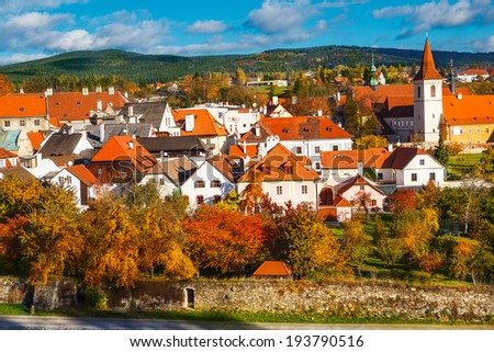 Autumn view on the houses in Cesky Krumlov, Czech Republic - stock photo