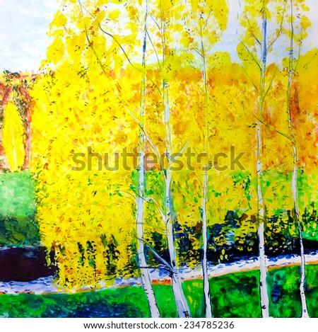 Autumn. Watercolor paint - stock photo