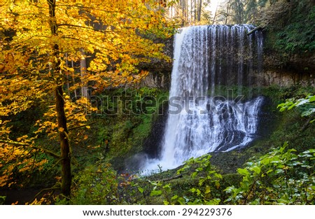 Autumn Waterfall at Silver Falls State Park - stock photo