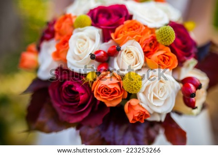 autumn wedding bouquet - stock photo