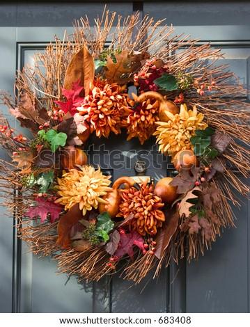 autumn welcome wreath - stock photo