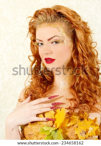 Autumn woman concept  - stock photo