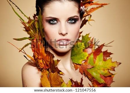 Autumn Woman. Fall. Beautiful Stylish Girl With Professional Makeup - stock photo