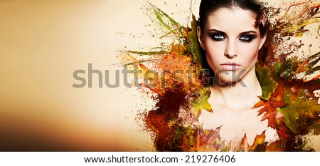 Autumn Woman. Fall. Beautiful Stylish Girl With Professional Makeup  - stock photo