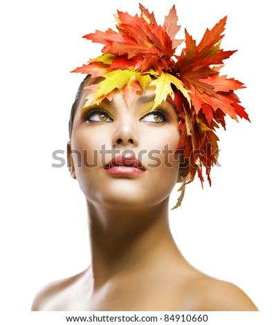 Autumn Woman Fashion Makeup - stock photo