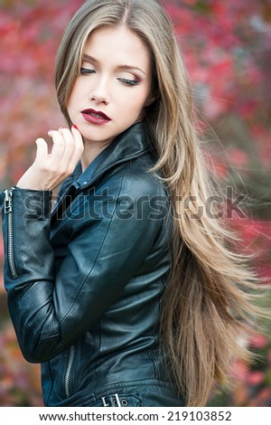 Autumn Woman Fashion Portrait. Beautiful Girl. - stock photo