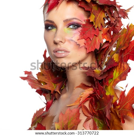 Autumn Woman portrait with creative makeup  - stock photo