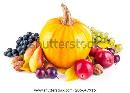 Autumnal harvest fruit and vegetable. Isolated on white background - stock photo