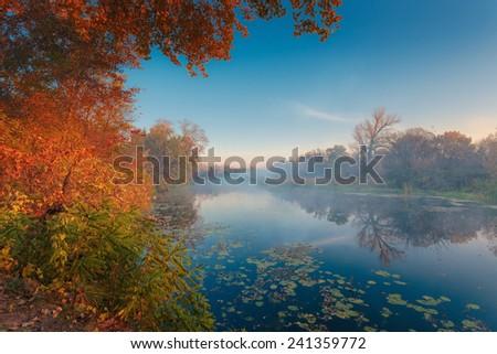Autumnal landscape. Beautiful misty sunrise river.  - stock photo