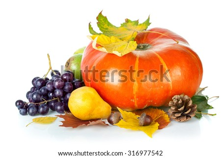 Autumnal still life with pumpkin and grapes. Isolated on white background - stock photo