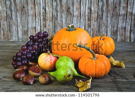 Autumnal vegetables and fruits - stock photo