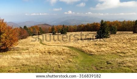 autumnal view from mount Strazov - Strazovske Vrchy, Carpathian mountains, Slovakia - stock photo