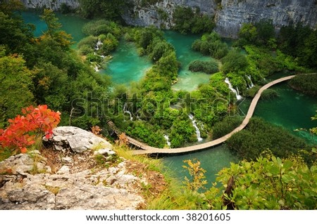 Autumnal view of Plitvice Lakes National Park