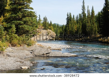 Autumnal view of sheep river valley, alberta, canada - stock photo