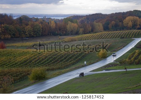 Autumnal vineyard after a rain shower with car driving past - stock photo