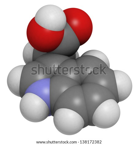Auxin (indole-3-acetic acid, IAA) plant growth hormone, molecular model. Atoms are represented as spheres with conventional color coding: hydrogen (white), carbon (grey), oxygen (red), nitrogen (blue) - stock photo