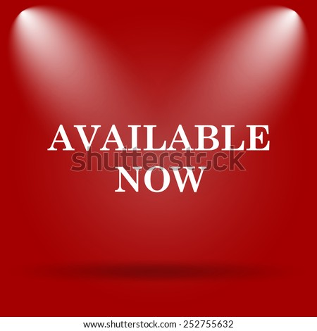 Available now icon. Flat icon on red background.  - stock photo